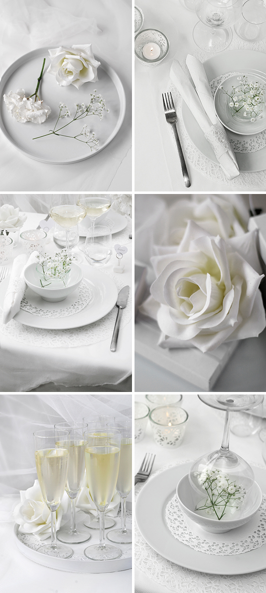 budget bröllop inspiration billiga dukningsidéer white wedding