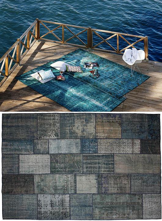 Slitna mattor som är minst 50 år gamla och har designats om och bearbetats för att få en unik och trendriktig vintagekänsla.